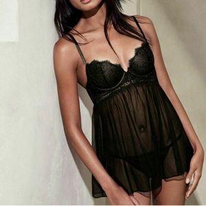 Victoria's Secret Black Babydoll Lingerie Push Up